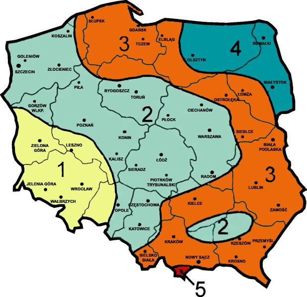 strefy śniegowe w Polsce